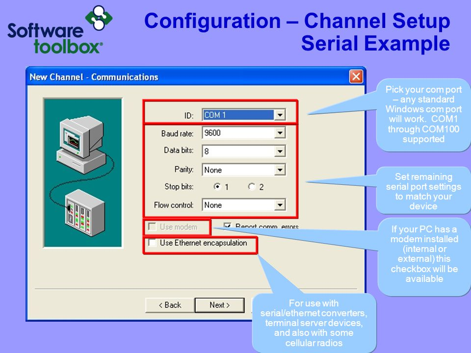 Configuration – Channel Setup Serial Example w/Modems
