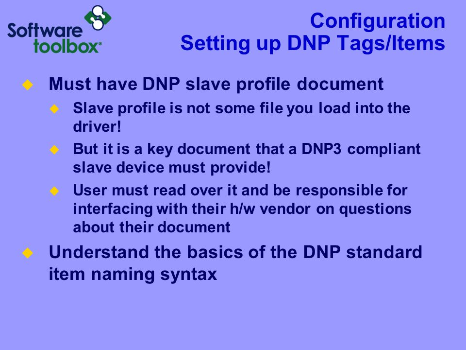 Configuration Addressing DNP Items