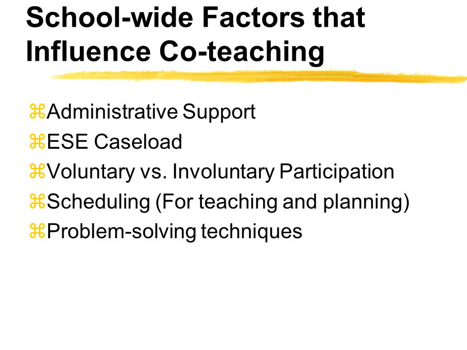 School-wide Factors that Influence Co-teaching