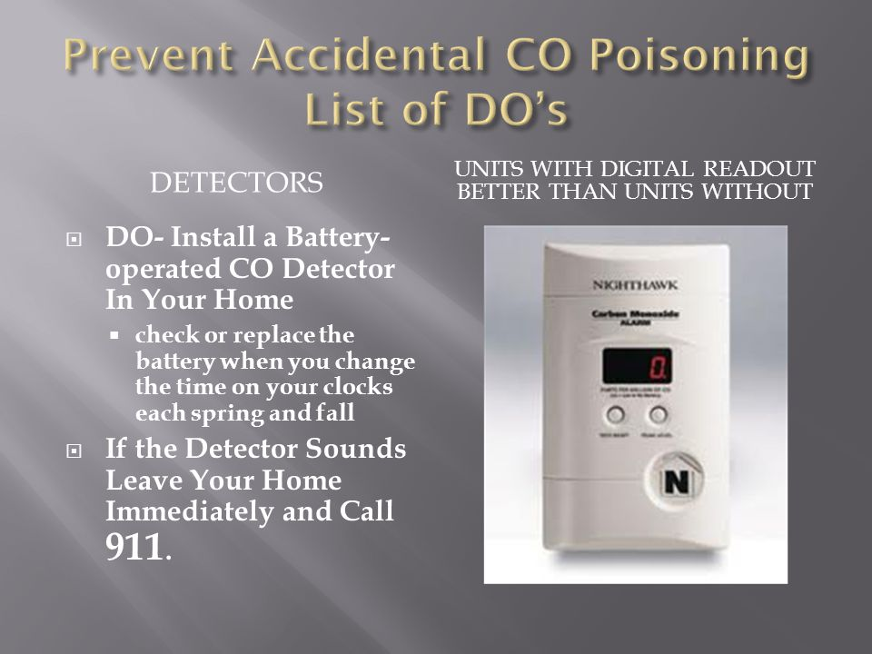 Prevent Accidental CO Poisoning List of DO's