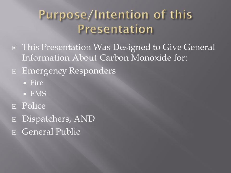 Purpose/Intention of this Presentation