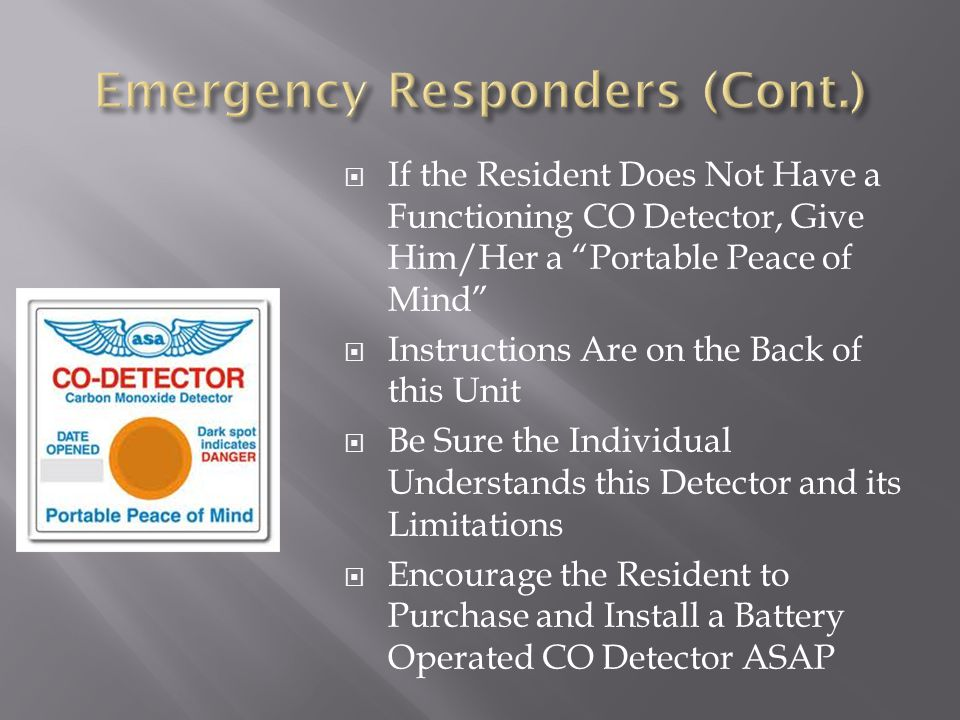 Emergency Responders (Cont.)
