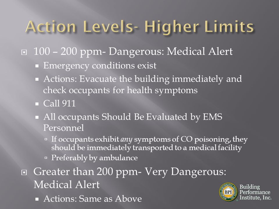 Action Levels- Higher Limits