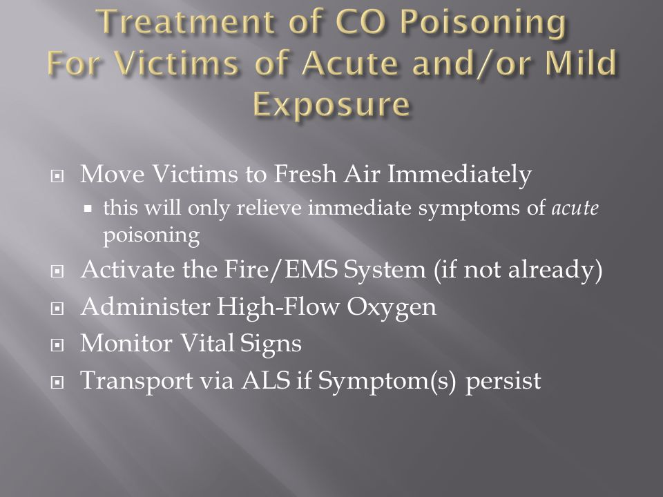 Treatment of CO Poisoning For Victims of Acute and/or Mild Exposure