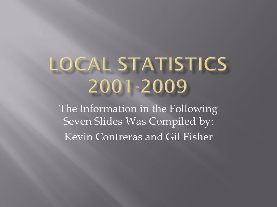 Local Statistics 2001-2009 The Information in the Following Seven Slides Was Compiled by: Kevin Contreras and Gil Fisher.