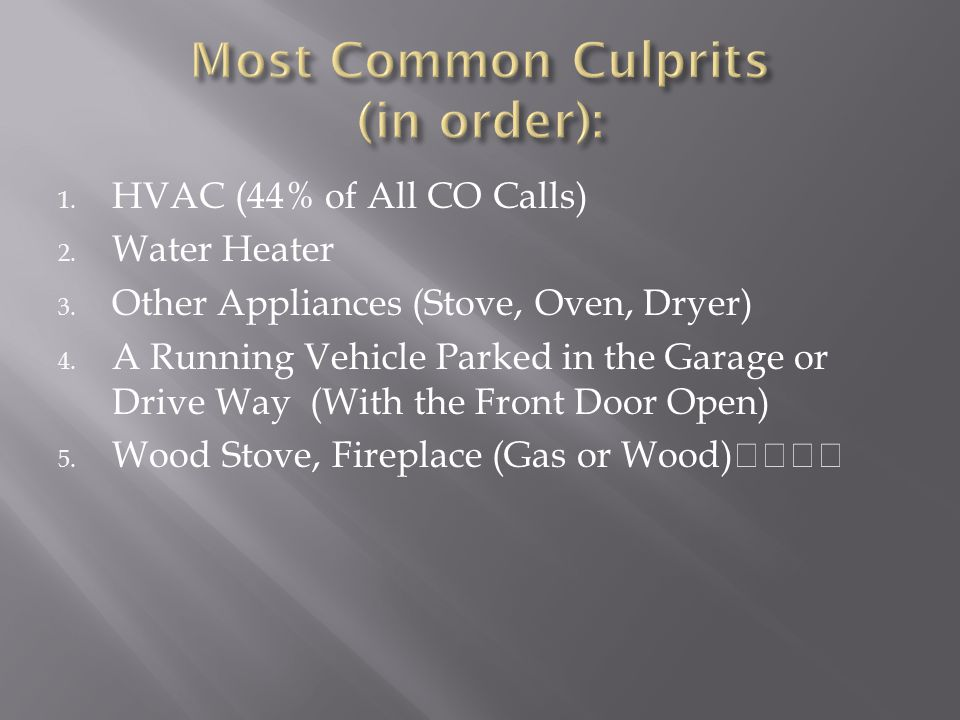 Most Common Culprits (in order):