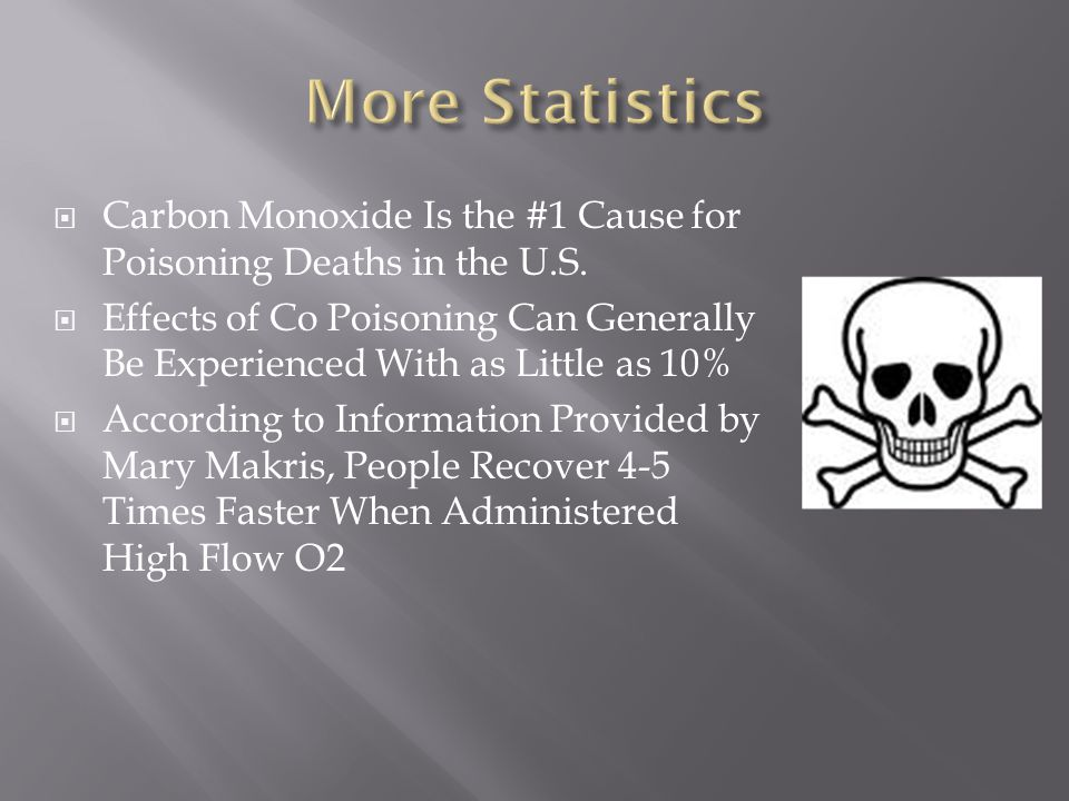 More Statistics Carbon Monoxide Is the #1 Cause for Poisoning Deaths in the U.S.