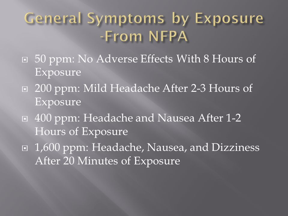 General Symptoms by Exposure -From NFPA