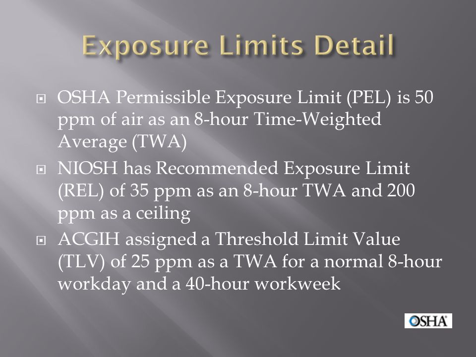 Exposure Limits Detail