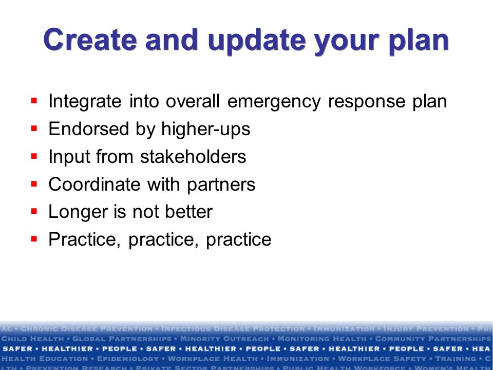 Create and update your plan