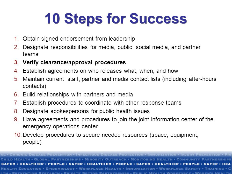 10 Steps for Success Obtain signed endorsement from leadership