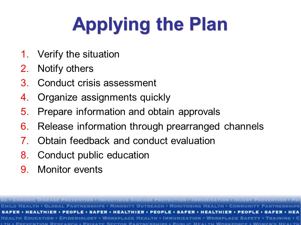 Applying the Plan Verify the situation Notify others