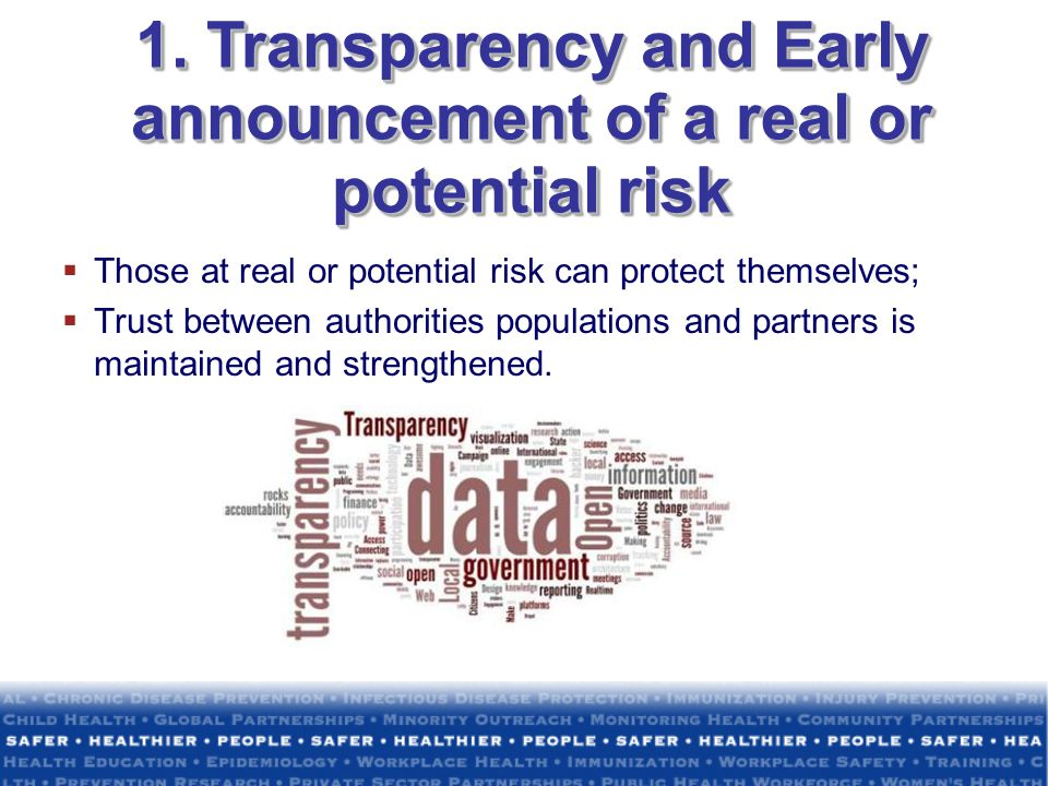 1. Transparency and Early announcement of a real or potential risk
