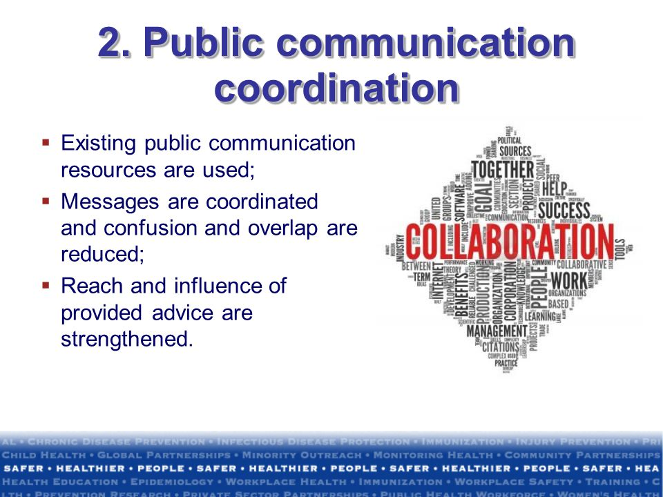 2. Public communication coordination