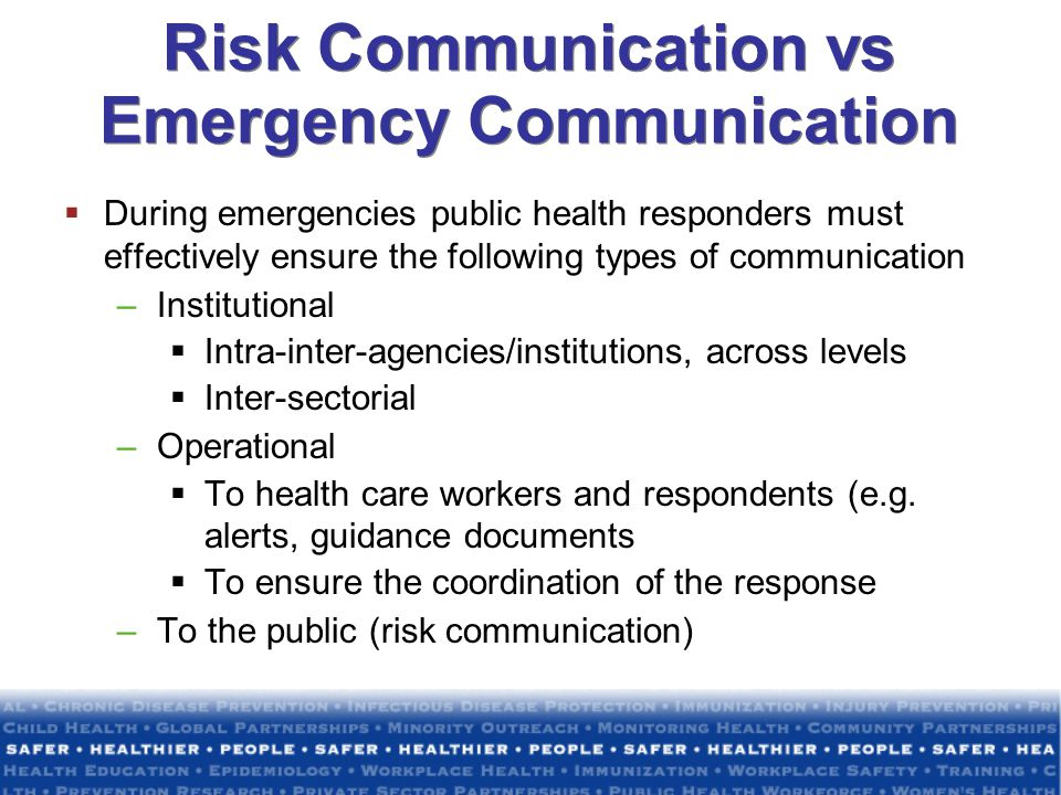 Risk Communication vs Emergency Communication