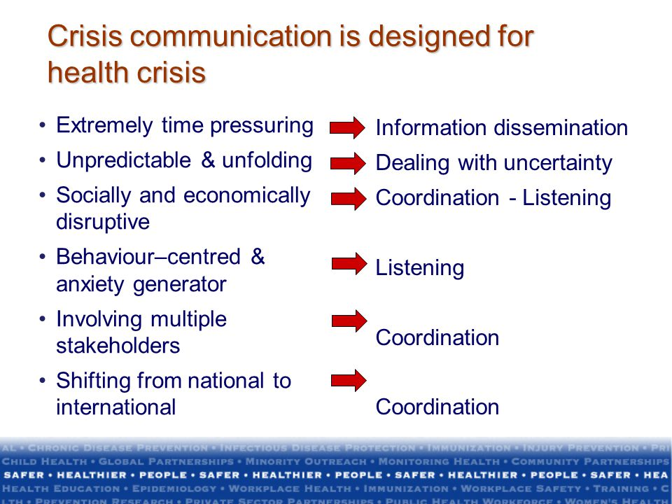 Crisis communication is designed for health crisis