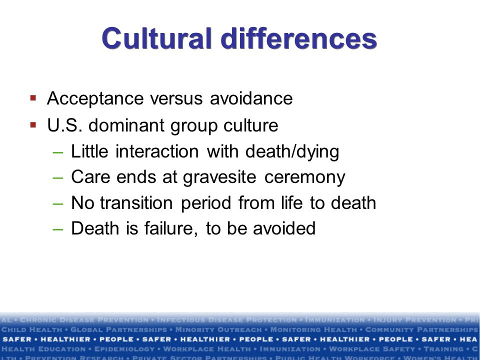 Cultural differences Acceptance versus avoidance