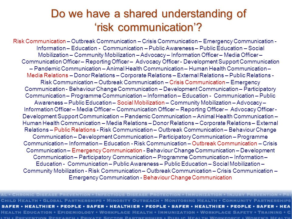 Do we have a shared understanding of