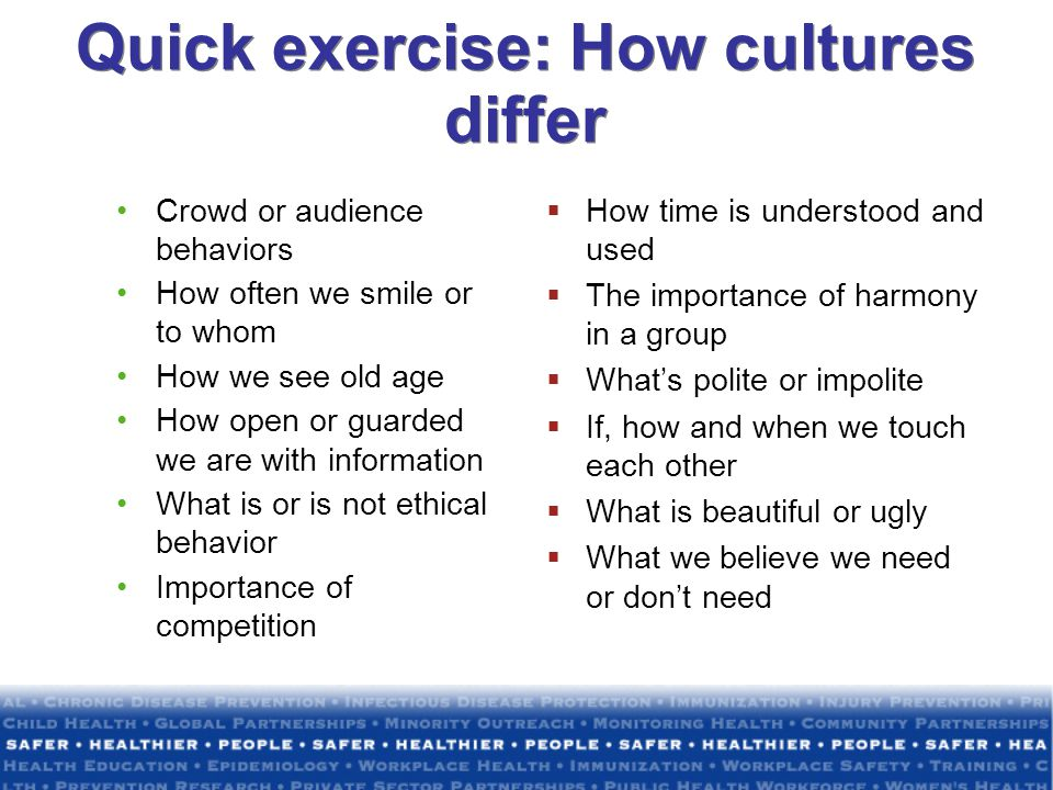 Quick exercise: How cultures differ