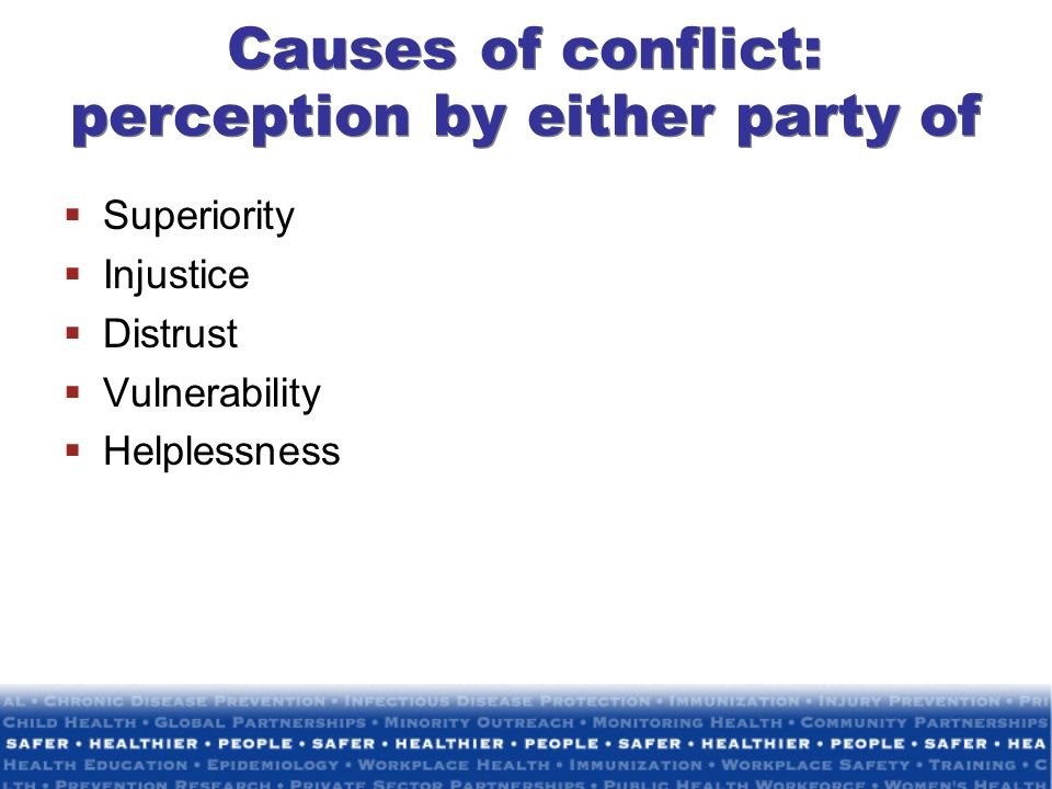 Causes of conflict: perception by either party of