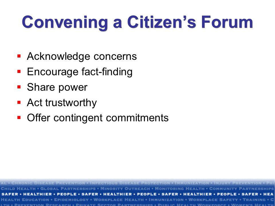 Convening a Citizen's Forum