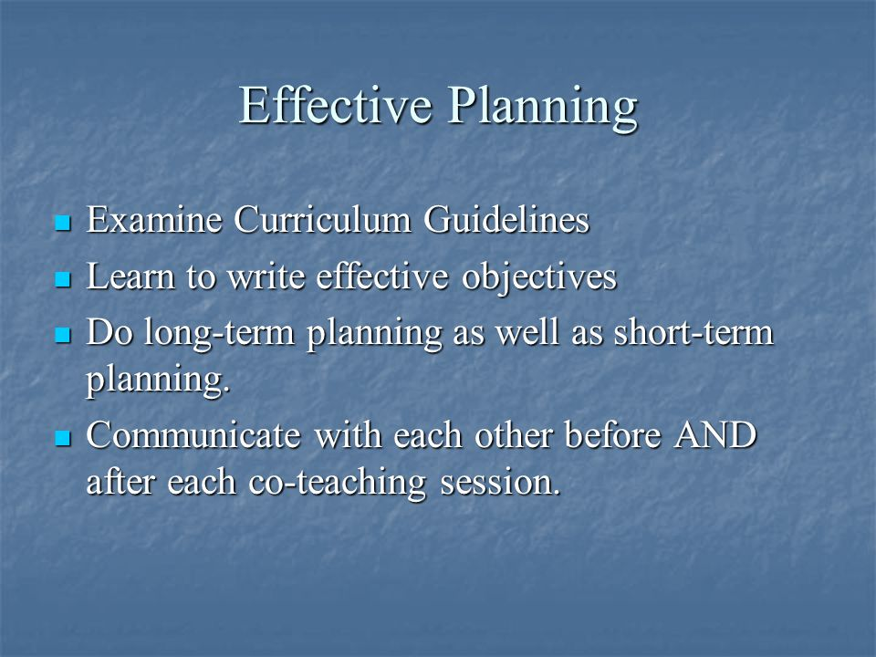 Effective Planning Examine Curriculum Guidelines