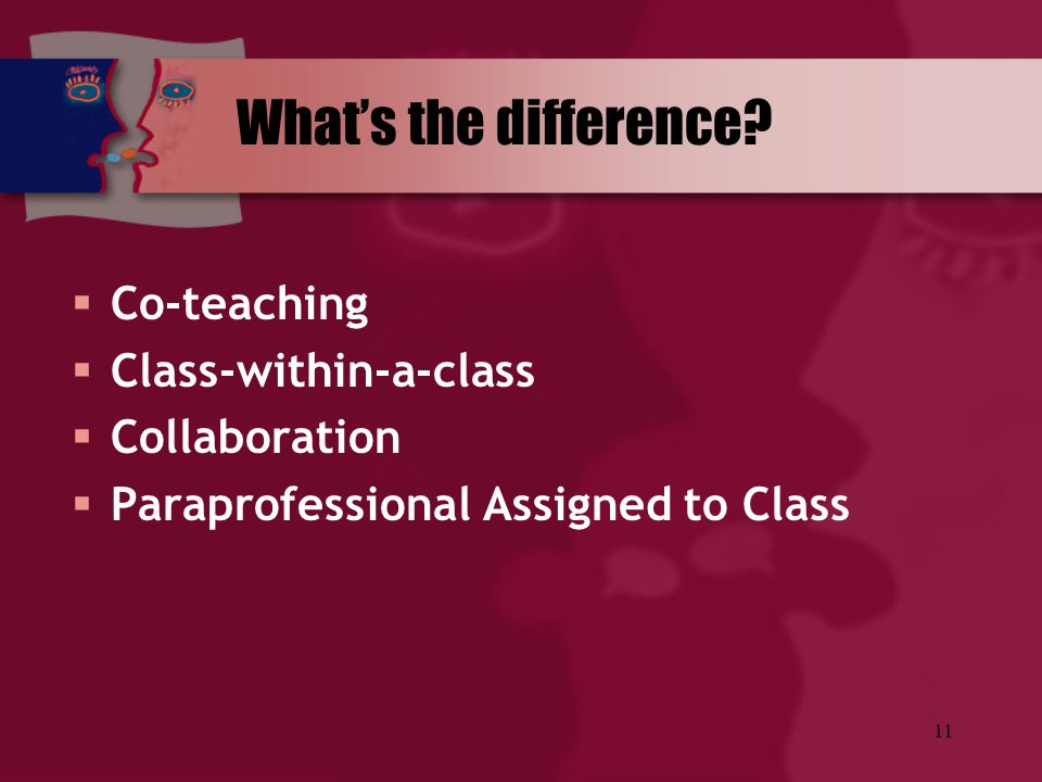 What's the difference Co-teaching Class-within-a-class Collaboration