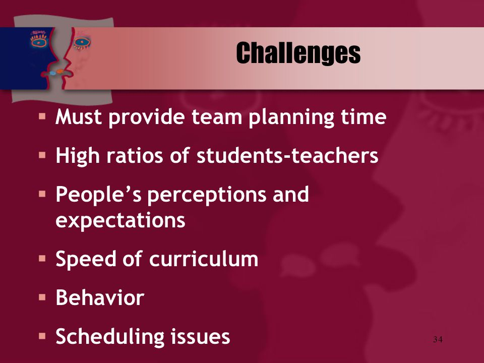 Challenges Must provide team planning time