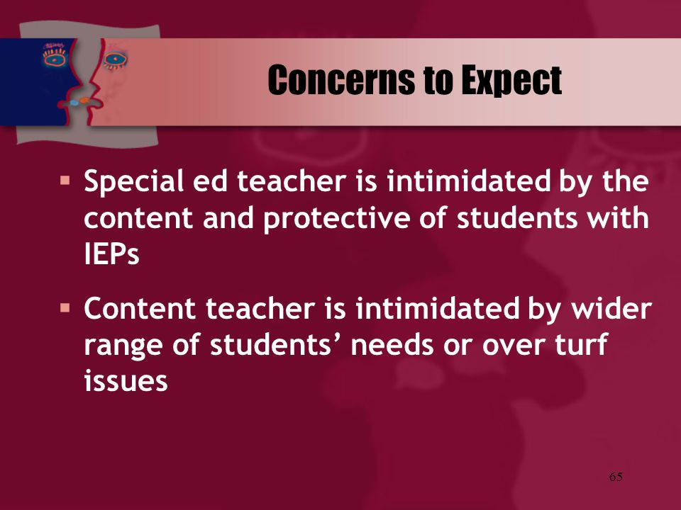 Concerns to Expect Special ed teacher is intimidated by the content and protective of students with IEPs.