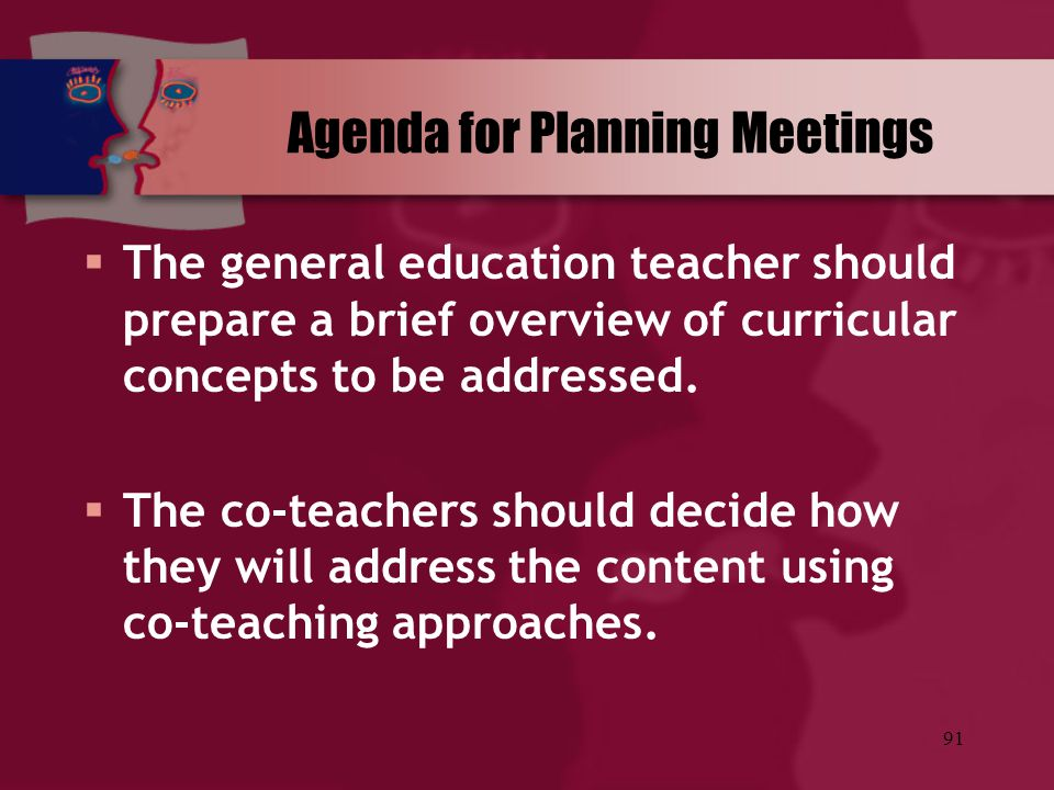 Agenda for Planning Meetings