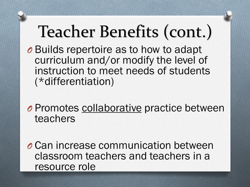 Teacher Benefits (cont.)