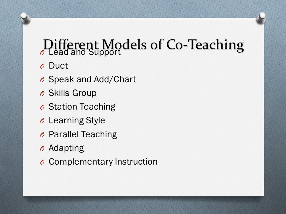 Different Models of Co-Teaching