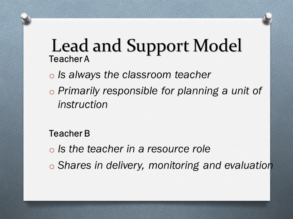 Lead and Support Model Is always the classroom teacher