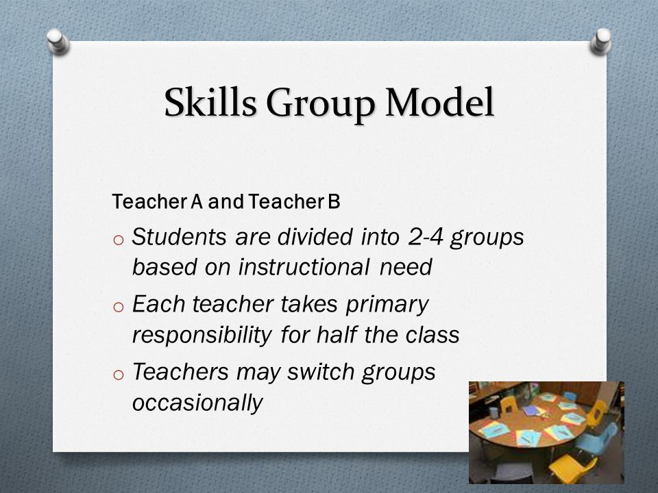 Skills Group Model Teacher A and Teacher B. Students are divided into 2-4 groups based on instructional need.