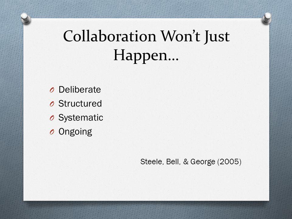Collaboration Won't Just Happen…