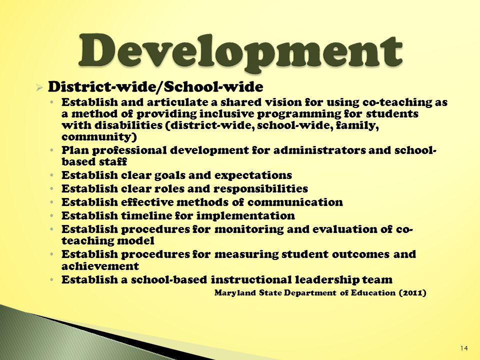 Development District-wide/School-wide