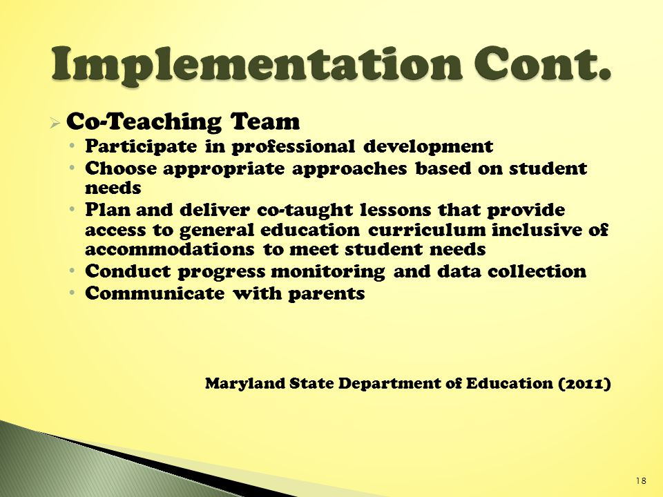Implementation Cont. Co-Teaching Team