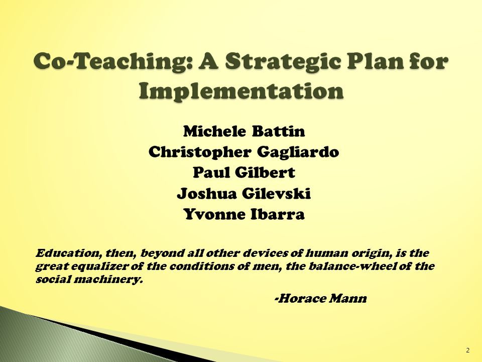 Co-Teaching: A Strategic Plan for Implementation