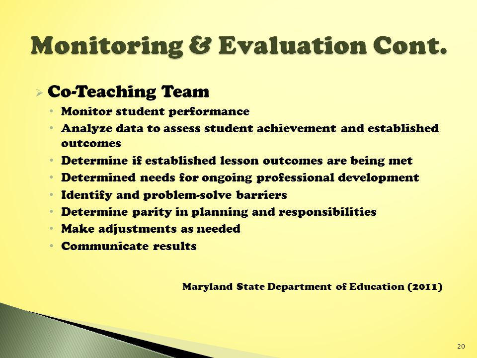 Monitoring & Evaluation Cont.