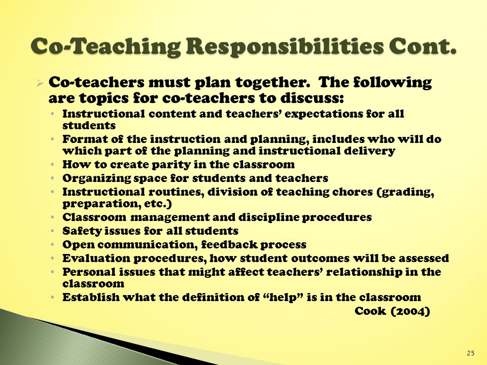 Co-Teaching Responsibilities Cont.