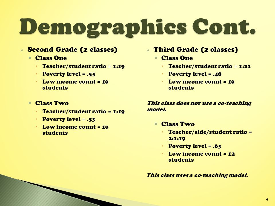 Demographics Cont. Second Grade (2 classes) Third Grade (2 classes)