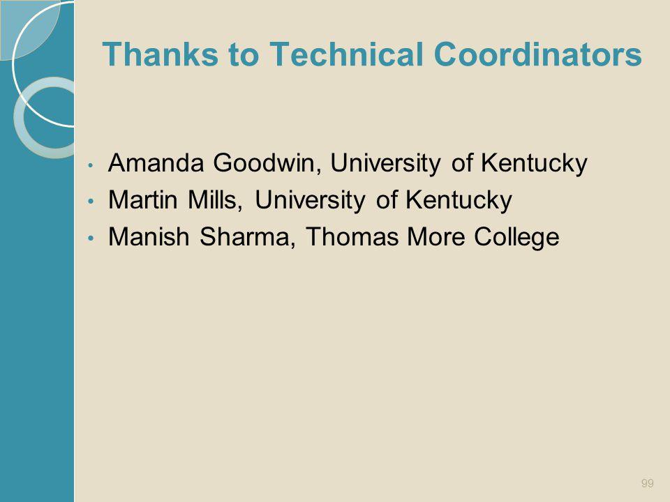 Thanks to Technical Coordinators