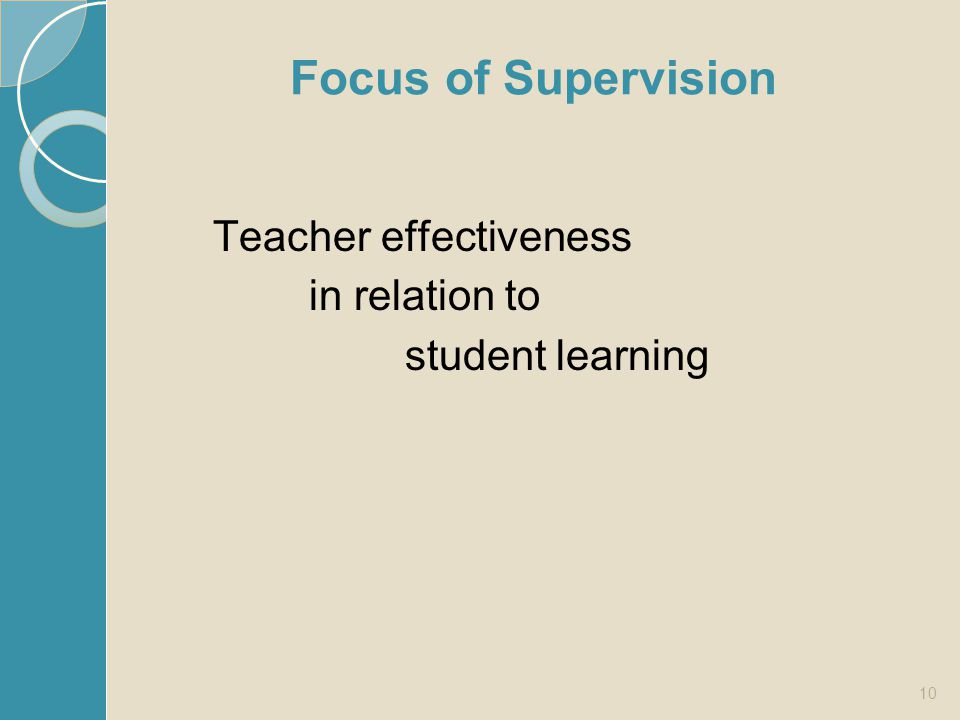 Focus of Supervision Teacher effectiveness in relation to