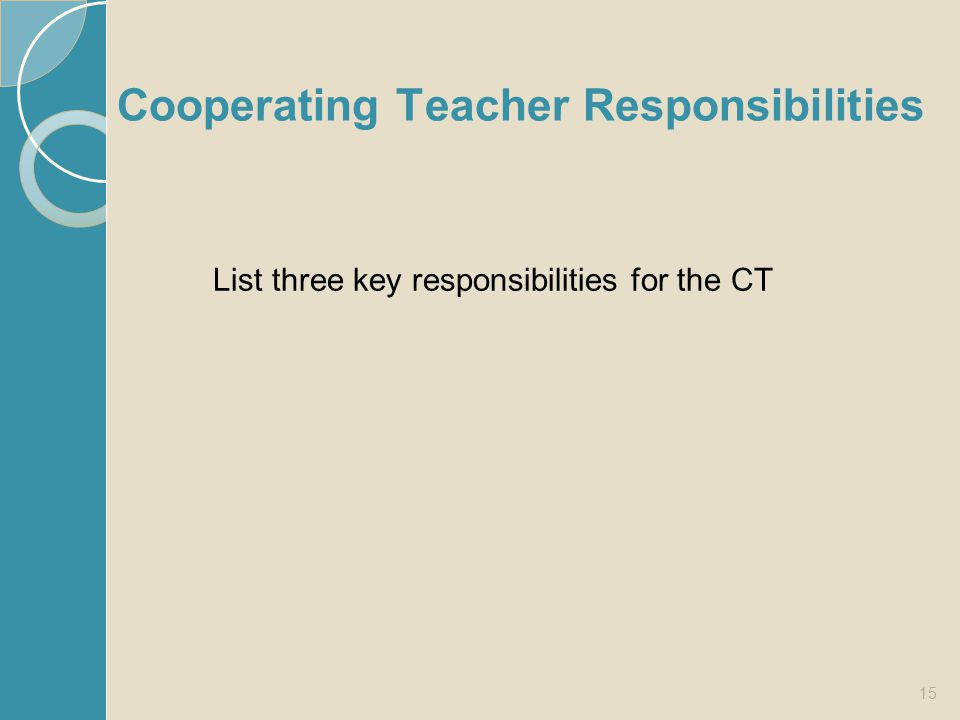 Cooperating Teacher Responsibilities