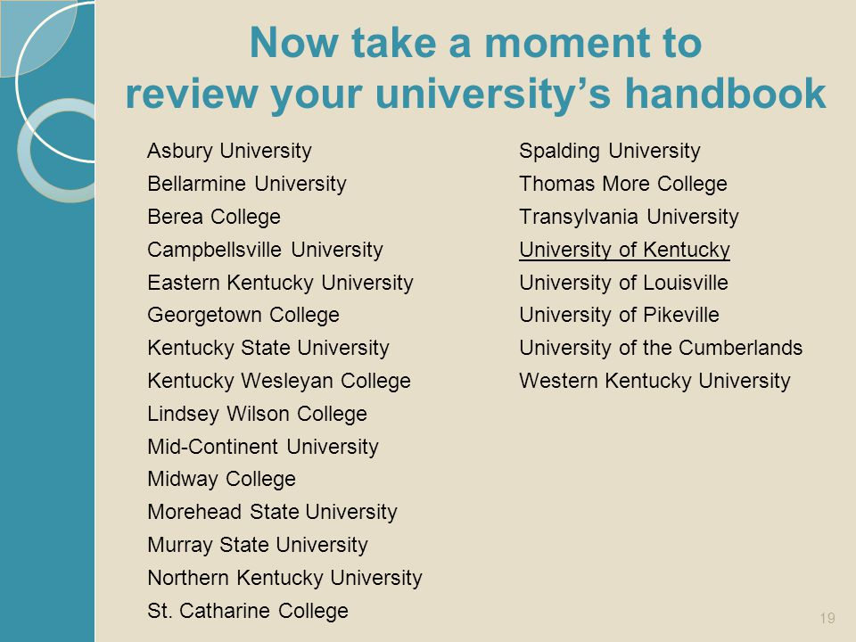 Now take a moment to review your university's handbook