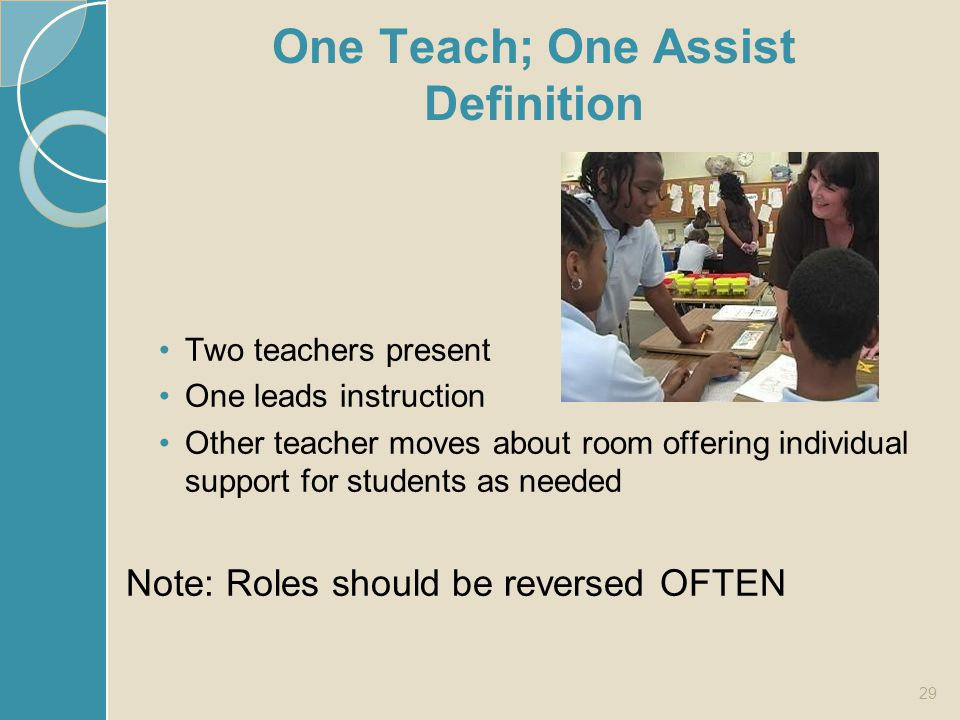 One Teach; One Assist Definition