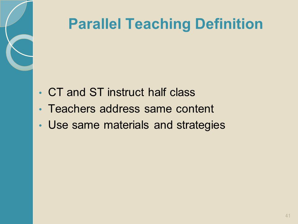 Parallel Teaching Definition