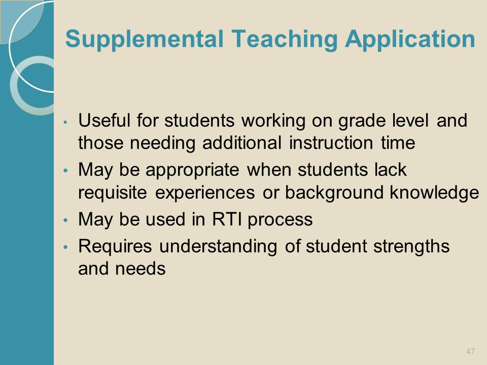 Supplemental Teaching Application