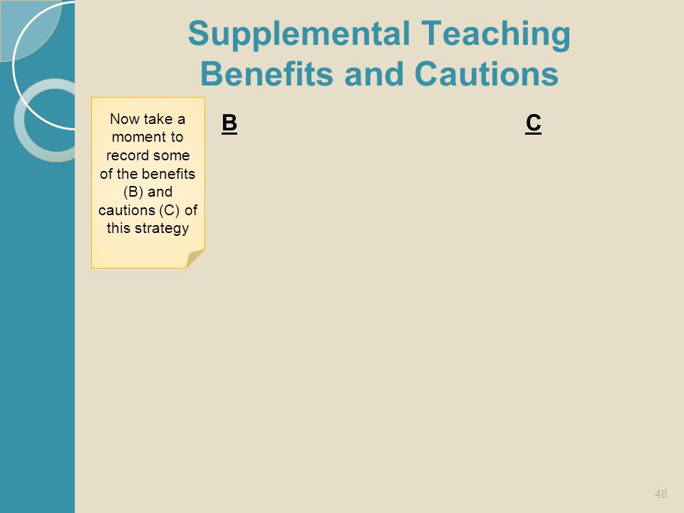 Supplemental Teaching Benefits and Cautions