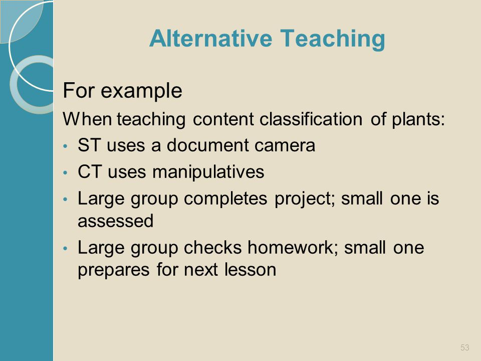 Alternative Teaching For example